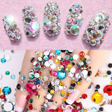 2000pcs Flat Back Nail Art Rhinestones Glitter Diamond Gems 3D DIY Decoration