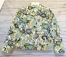 COLDWATER CREEK PL Brown/Green/Yellow/Blue Floral 5 Button 100% Cotton Jacket