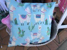 Blue Llama print Cotton Linen look Sofa Throw Cushion Cover Hidden zip 45 cm