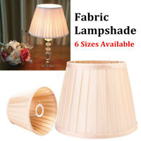 "Retro Champagne Fabric Box Pleat Lamp Shade Table Light Lampshade Cover 8""-18"""