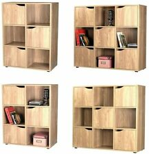 Wooden Cube Storage Unit Display Shelves Cupboard Bookcase in Oak 6 or 9 Cubes