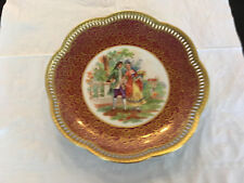 """(#195) SCHUMANN Germany hand painted 9 3/4"""" riticulated plate"""