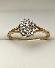 9ct Yellow Gold  Cluster Diamond Dress Ring 0.15ct Size O