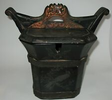 Old Antique Chinese / Japanese Lacquer Wood Tea Box Chest Caddy, Locking Handle