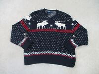 Ralph Lauren Polo Sweater Adult Large Blue Reindeer Hand Knit Wool Mens 90s