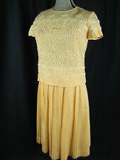 Caryle Vintage Anni 50 Lt.peach/Avorio Ricamo Maglia & a Pieghe Skirt-Bust 37/