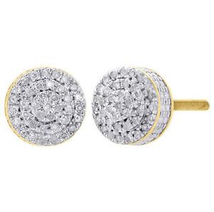 Mens Ladies 10K Yellow Gold 3D Circle Real Diamond Domed Stud Earrings 0.25 Ct.