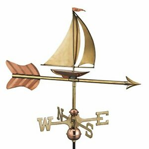 Good Directions 8803PR Sailboat Cottage Weathervane Polished Copper with Roof...