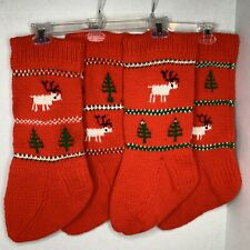 Vintage Hand Knit Christmas Stocking Red, Green & White Reindeer-Trees Lot Of 4