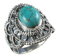 925 Solid Sterling Silver Ring Natural Turquoise Stone US Size 4 5 6 7 8 R2837