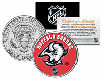 BUFFALO SABRES NHL Hockey JFK Kennedy Half Dollar U.S. Coin * LICENSED *