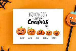 Personalised Halloween Family Print Pumpkin Family A4 Linen Card