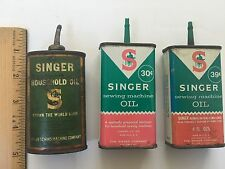 Vintage SINGER Sewing Machine Oil Tin Lot of 3 Household Oil Can Lead Spout Full