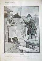 Original Old Antique Print 1905 Drawing Frd Buchanan Village Oracle Men Paper