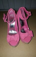 Bamboo Pink Platforms Chunky Heels Size 6.5 Peep Toe Buckles Bows Straps