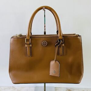 TORY BURCH Solid Brown Leather Satchel Bag Gold Logo