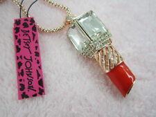 Betsey Johnson crystal ruby red lipstick pendant necklace # B241U