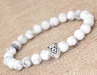 "Fashion Men's White Howlite Silver Lion Head Beaded Yogo Stretch Bracelet 8"" B40"