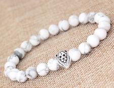 "Fashion Men's White Howlite Silver Lion Head Beaded Yogo Stretch Bracelet 8"" B40"