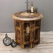 Medium Side Table with Aluminium Inlay Indian Mango Wood Hand Carved End Coffee