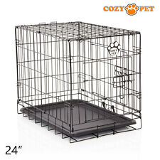 Dog Cage 24 inch Puppy Crate S Cozy Pet Black Dog Crates Folding Metal Cages