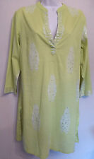 East Small UK10 EU38 US6 new green cotton 3/4-sleeved tunic with sequins