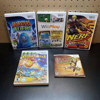 5 Game Wii Lot-Monsters Vs Aliens,Wii Play,Nerf N-Strike,Flingsmash,Link's Cross
