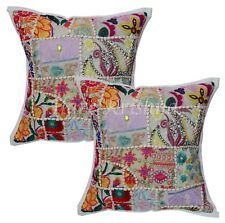 """Indian Festive Sofa Decor Pillow Case Patchwork Cotton Cushion Cover 2pc Set 20"""""""