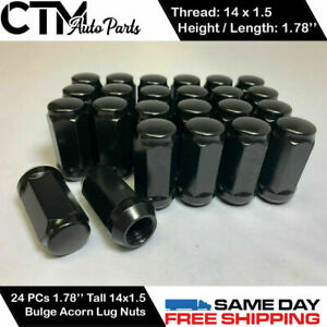 24PC BLACK 14X1.5 WHEEL LUG NUTS BULGE ACORN 1.78''TALL FIT FORD CHEVY GMC MORE
