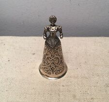 German Antique 800 Sterling Silver Figural Lady Ornate Dinner Bell