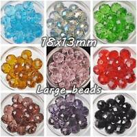 5pcs Big 18mm(18x13mm) Rondelle Faceted Crystal Glass Loose Beads Jewelry Making