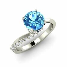 Certified Natural Blue Topaz & Diamond 14k White Gold Solitaire Engagement Ring