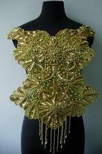 BD55 Elegant Bodice Sequin Beaded Applique Gold Designer/Dancewear/Samba Motif