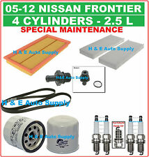 05-12 FRONTIER 2.5L TUNE UP KITS: SPARK PLUG, BELT; AIR, CABIN & OIL FILTER