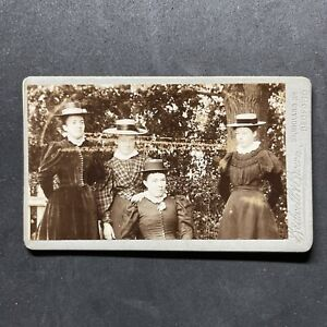 Victorian Carte De Visite CDV: Young Ladies Straw Boaters: Bedwell Brown Bedford