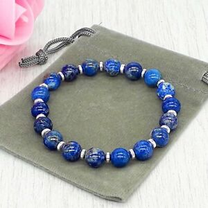 Handmade Natural Lapis Lazuli Gemstone Stretch Bracelet & Velvet Pouch. 6/8mm.