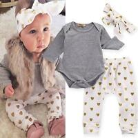 3pcs/set Infant Baby Girls T-shirt Romper+Pants Leggings+Headband Outfit Costume
