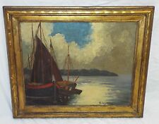 Old SAILBOATS ON THE WATER Artist Signed Framed OIL PAINTING Signed A. LEYSSON