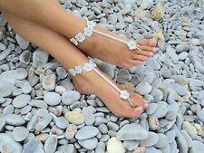 Fiore IN ARGENTO A UNCINETTO a piedi Nudi sandali-Nozze Favore-handmade-piede Jewelry-Beach