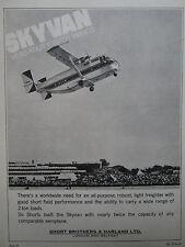 1/1965 PUB SHORT BROTHERS HARLAND SHORT TURBO SKYVAN STOL AIRCRAFT ORIGINAL AD