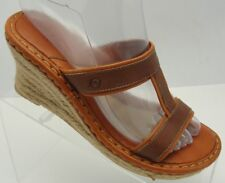 Born Drillers Women's Size 7/38 Brown Tan Leather Jute Wrap Wedge Sandals Heels