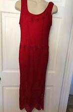 Kroshetta Papillon Sleeveless Sexy Crochet Dress Holiday Red Sz PM Petite Medium