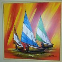 "Vtg Mid Century Mod Signed Matson Sailboats Oil Painting Orange Yellow 37"" x 37"""