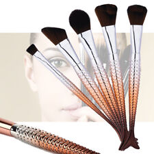 Mermaid Make Up Brush Set 10 Brown Mix Powder Foundation Cosmetic Tools Set