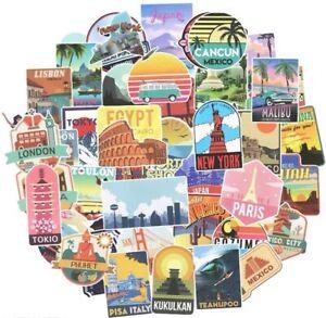 50 Luggage Suitcase Retro Vinyl Stickers Vintage City Names World Travel UK NEW