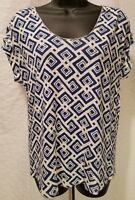 LUCKY BRAND BLUE & WHITE SHORT SLEEVE KNIT TOP BLOUSE SHIRT SIZE S SMALL