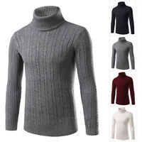 Mens Winter Slim Fit Knitted Thermal Sweater Turtleneck Wool Pullover Jumper Top