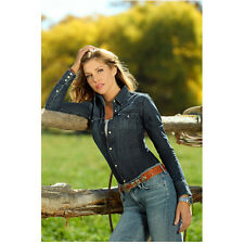 Killer Women Tricia Helfer Molly Parker by Fence Holding Hair 8 x 10 Inch Photo