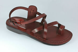 Style 6 Brown Leather Jesus Sandals Greek Roman CAMEL from the Holy Land Israel