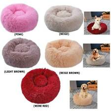 Pet Dog Cat Kennel Calming Round Nest Warm Soft Plush Comfortable Sleeping Bed